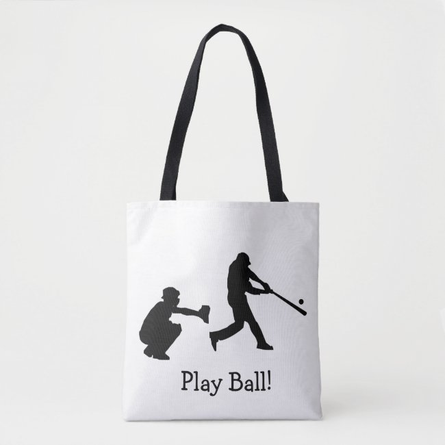 Black and White Play Ball Baseball Sports Tote Bag