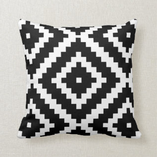 Black And White Play Pattern Throw Pillow at Zazzle