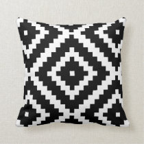Black and white play pattern throw pillow