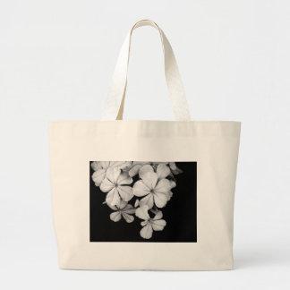 black and white Plumbago Tote Bag