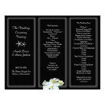 Black and White Plumeria Wedding Program Template Customized Letterhead
