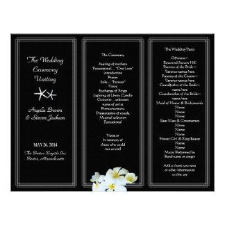 Black and White Plumeria Wedding Program Template Letterhead