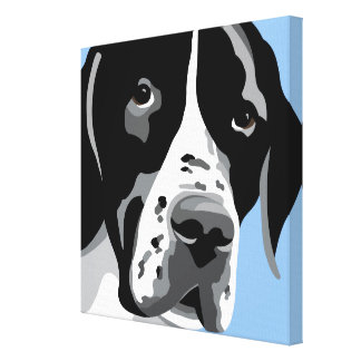 Black and White Pointer Art Canvas Print