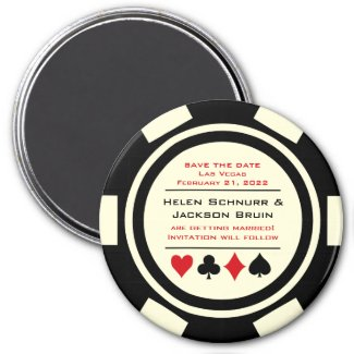 Black and White Poker Chip Casino Save The Date Magnet