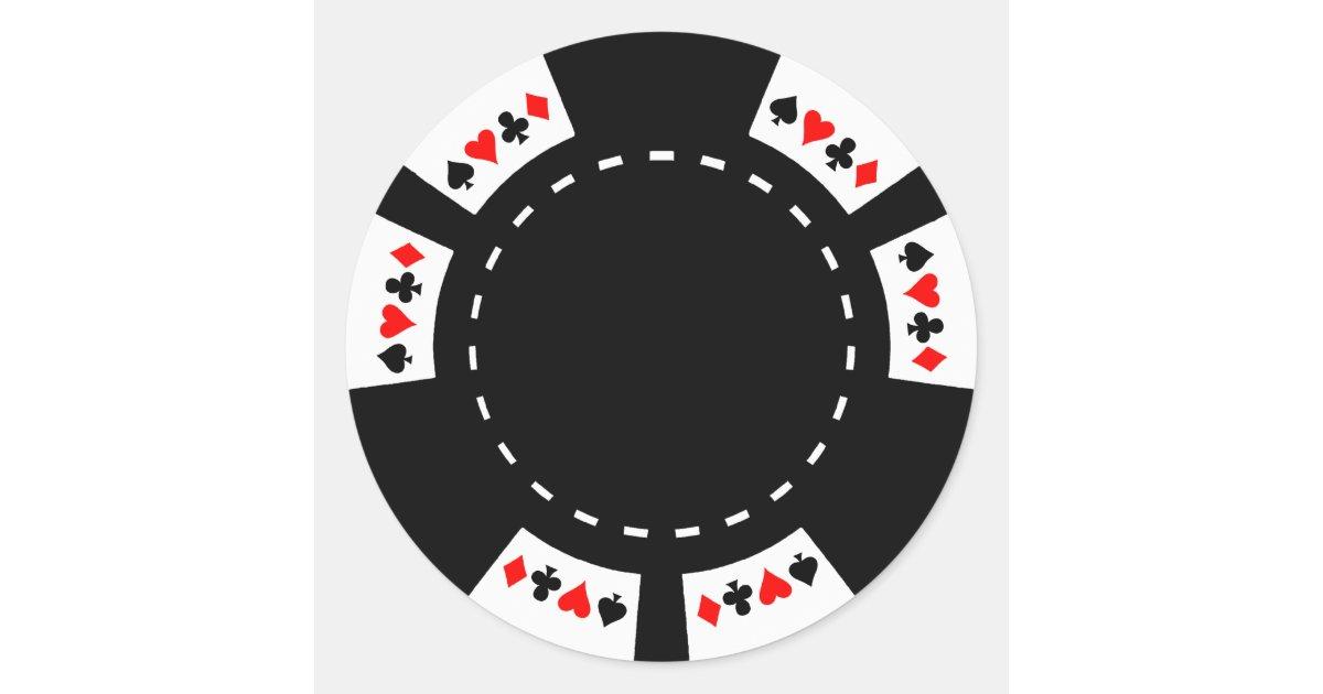 Black and White Poker Chip Classic Round Sticker   Zazzle.com