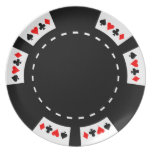 Black and White Poker Chip Party Plate