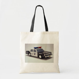 Black and white police car canvas bag