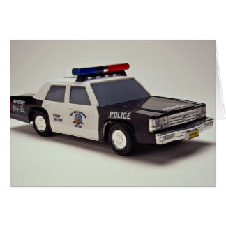 Black and white police car greeting card