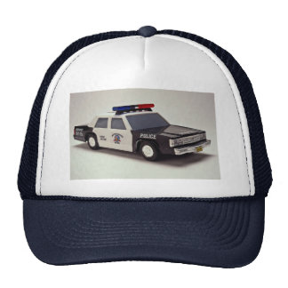 Black and white police car mesh hat