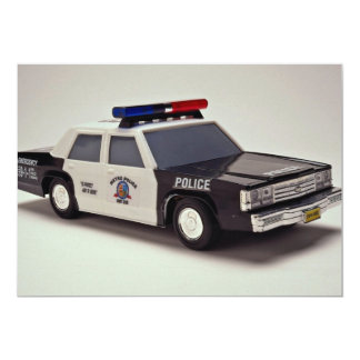 Black and white police car 5x7 paper invitation card