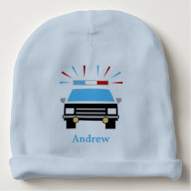 Black and White Police Car   Personalized Baby Beanie