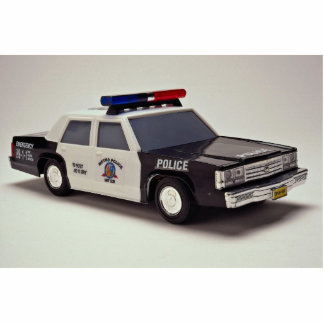 Black and white police car statuette
