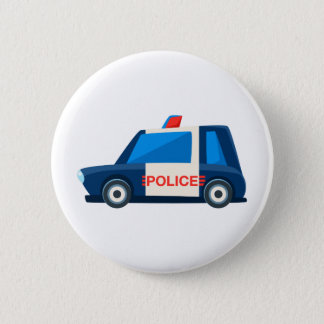 Black And White Police Toy Cute Car Icon Button