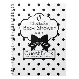 Black and White Polka Dot Baby Shower Guest Book