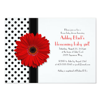 Black and White Polka Dot Baby Shower Invitation