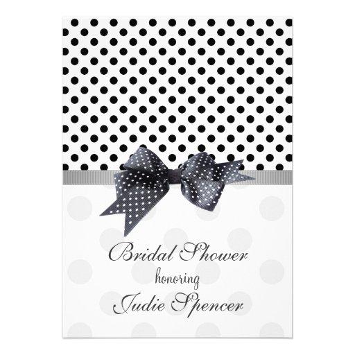 Black and white polka dot bridal shower invitation zazzle for Black and white bridal shower invitations
