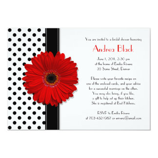 """Black and White Polka Dot Bridal Shower Invitation 5"""" X 7"""" Invitation Card"""
