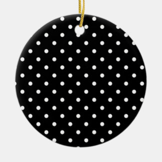 Black And White Polka Dot Ceramic Ornament