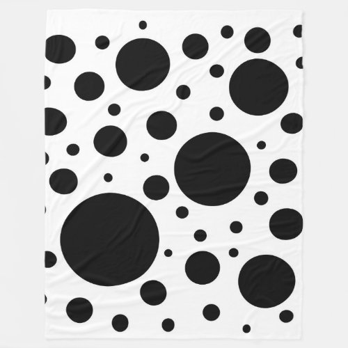 Black and White Polka Dot Circles Fleece Blanket