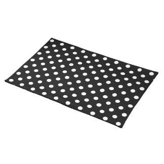 Black and White Polka Dot Cloth Place Mat