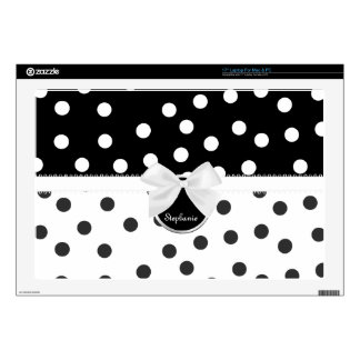 """Black and White Polka Dot Computer Skin Decals For 17"""" Laptops"""