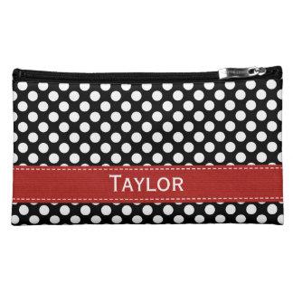Black and White Polka Dot Cosmetic Bag