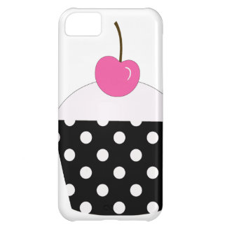 Black and White Polka Dot Cupcake With Pink Cherry iPhone 5C Cover