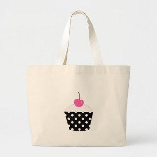 Black and White Polka Dot Cupcake With Pink Cherry Jumbo Tote Bag
