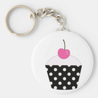 Black and White Polka Dot Cupcake With Pink Cherry Keychain