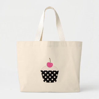 Black and White Polka Dot Cupcake With Pink Cherry Large Tote Bag