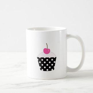 Black and White Polka Dot Cupcake With Pink Cherry Coffee Mug
