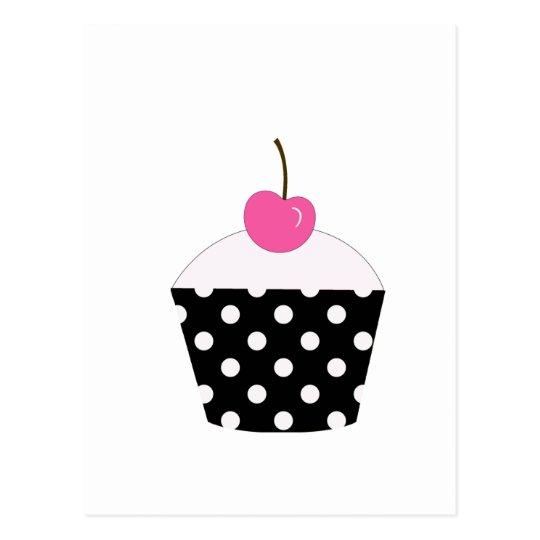 Black and White Polka Dot Cupcake With Pink Cherry Postcard