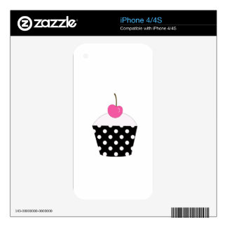 Black and White Polka Dot Cupcake With Pink Cherry Decal For iPhone 4S