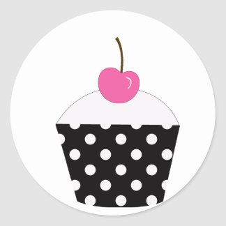 Black and White Polka Dot Cupcake With Pink Cherry Round Stickers