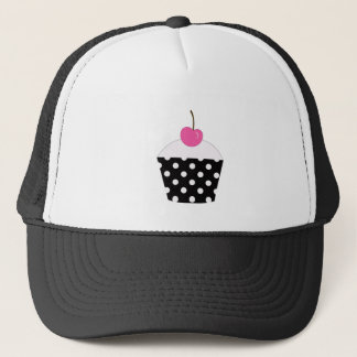 Black and White Polka Dot Cupcake With Pink Cherry Trucker Hat