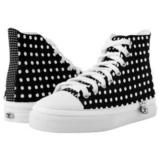 Black and White Polka Dot Custom Hi-Top Printed Shoes