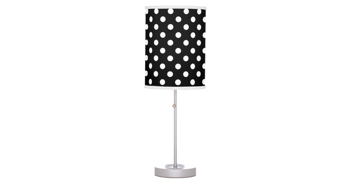 black and white polka dot desk lamp