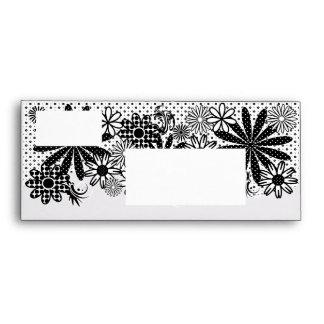 Black And White Polka Dot Florals #10 Envelope