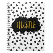 Black and White Polka Dot Gold Foil Hustle Notebook