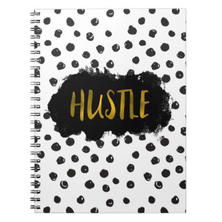 Black and White Polka Dot Gold Foil Hustle Spiral Notebook