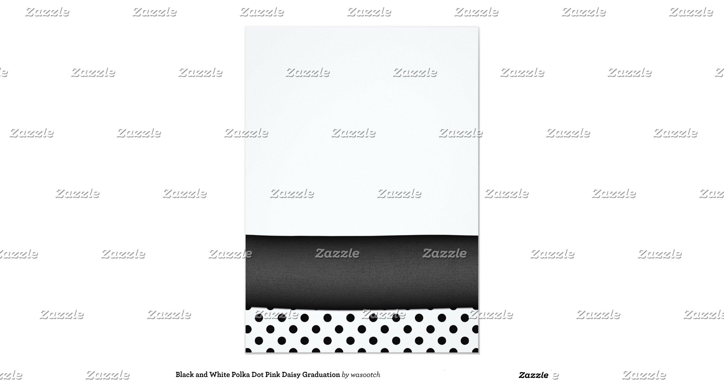 black_and_white_polka_dot_graduation_invitation