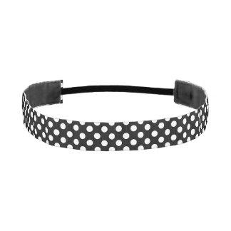 Black and White Polka Dot Head Band Athletic Headbands