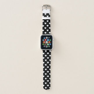 Black And White Polka Dot Hearts Pattern Apple Watch Band