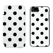Black And White Polka Dot iPhone SE/5/5s Wallet Case