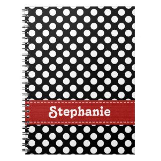 Black and White Polka Dot Journal Spiral Notebook