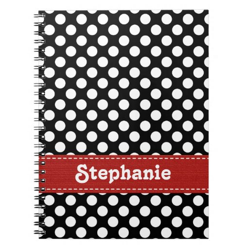 Black and White Polka Dot Journal Spiral Notebook