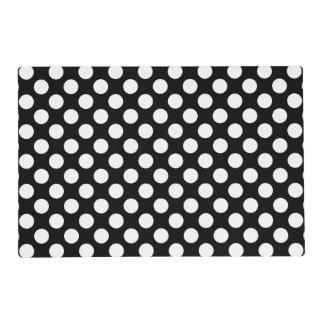 Black and White Polka Dot Laminated Placemat