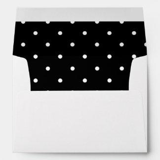 Black and White Polka Dot Lined Envelope