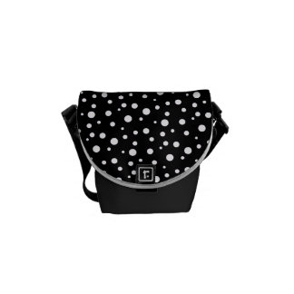 Black and White Polka Dot Mini-Messenger Bag