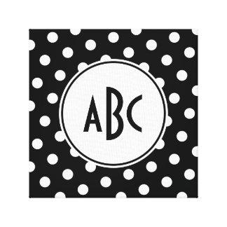 Black and White Polka Dot Monogram Canvas Print